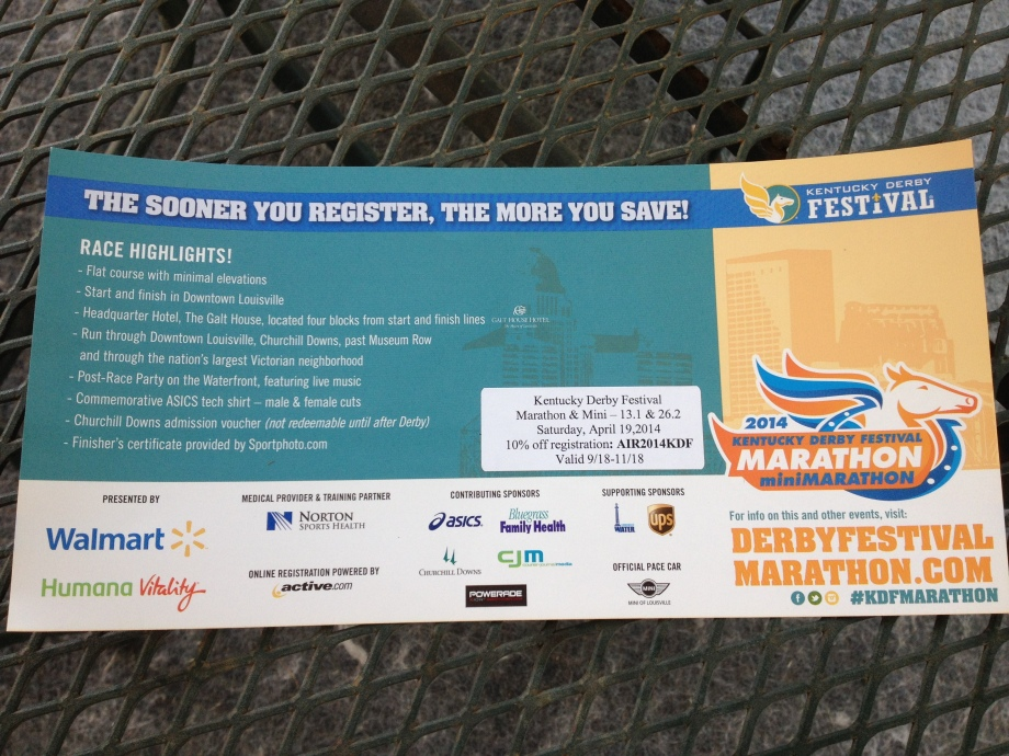 Flyer For The Kentucky Derby Festival Marathon